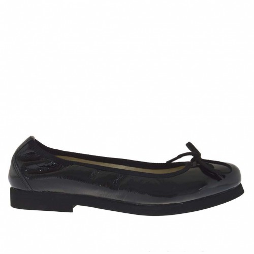 Woman's ballerina shoes with bow  in black patent leather heel 2 - Available sizes:  33