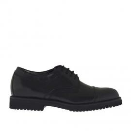 Zapato derby para hombres con cordones y puntera en piel negra - Tallas disponibles:  36, 50