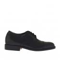 Elégant chaussure à lacets pour hommes en cuir noir