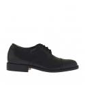 Men's elegant shoe with laces in black leather