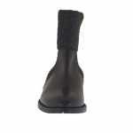 Woman's ankle boot in grey elastic fabric and black leather heel 2