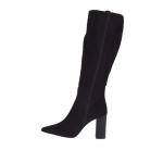 Woman's boot in black fabric and suede with zipper heel 9