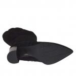 Bottes pour femmes en tissu et daim noir avec fermeture éclair talon 9 - Pointures disponibles:  32, 33, 34, 42