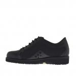 Chaussure à lacets pour femmes en cuir, cuir verni et tissu noir talon compensé 3 - Pointures disponibles:  33