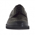 Elegant men's derby shoe with laces and Brogue decorations in black leather