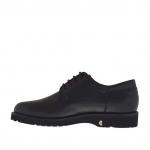 Chaussure derby à lacets élégante pour hommes en cuir noir - Pointures disponibles:  36, 47