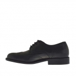 Men's laced shoe with Brogue decorations in black leather - Available sizes:  51