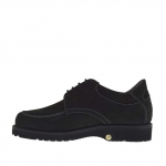 Chaussure à lacets pour hommes en nubuck noir - Pointures disponibles:  36, 37, 47