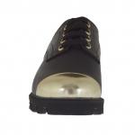 Chaussure à lacets pour femmes en cuir noir avec embout en cuir verni d'or talon compensé 3
