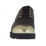 Woman's laced shoe in black leather with toecap in golden patent leather wedge heel 3
