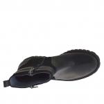 Bottines pour femmes avec fermeture éclair et bandes en cuir et daim imprimé noir talon 3 - Pointures disponibles:  32