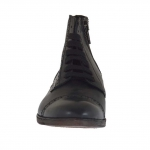 Men's ankle-high laced shoe with zipper and captoe in black leather