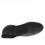 Chaussure à la cheville pour hommes avec fermeture éclair, bout droit et lacets en cuir noir - Pointures disponibles:  38