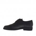 Chaussure derby pour hommes fermée à lacets et bout golf en cuir noir - Pointures disponibles:  36, 51