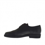 Men's shoe with laces in black leather