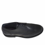 Men's derby shoe with laces and wingtip decorations in black leather - Available sizes:  36, 51