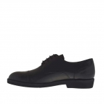 Elegant men's derby shoe with laces in black leather