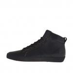 Chaussure à la cheville avec lacets pour hommes en cuir noir - Pointures disponibles:  36, 37, 46