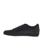 Laced sports shoe for men in black leather  - Available sizes:  36, 37, 38, 47, 51