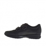 Men's sports shoe with velcro in black leather - Available sizes:  36, 37, 46
