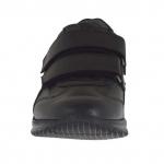 Sportlicher Herrenschuh mit Klettverschluss aus schwarzem Leder - Verfügbare Größen:  36, 37, 38, 46