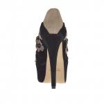 Escarpin à plateforme pour femmes avec courroies croisés et fleurs en daim noir et taupe talon 15 - Pointures disponibles:  42