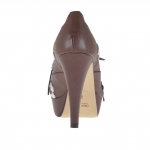 Woman's high-fronted platform laced pump in brown leather with white flowers heel 10