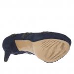 Escarpin pour femmes avec plateforme en daim bleu foncé avec fleurs talon 15 - Pointures disponibles:  42