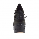 Woman's laced shoe with platform in black leather with flowers heel 15 - Available sizes:  42