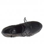 Chaussure pour femmes à lacets avec platforme en cuir noir avec fleurs talon 15 - Pointures disponibles:  42