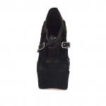 Escarpin à plateforme pour femmes avec courroies croisés et fleurs en daim et cuir noir talon 15 - Pointures disponibles:  42
