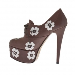 Chaussure à lacets pour femmes en cuir marron avec fleurs blanches et plateforme talon 15 - Pointures disponibles:  31, 32, 33, 34, 42, 43