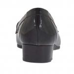 Mocassino da donna in vernice stampata nera con accessorio in metallo tacco 3 - Misure disponibili: 34