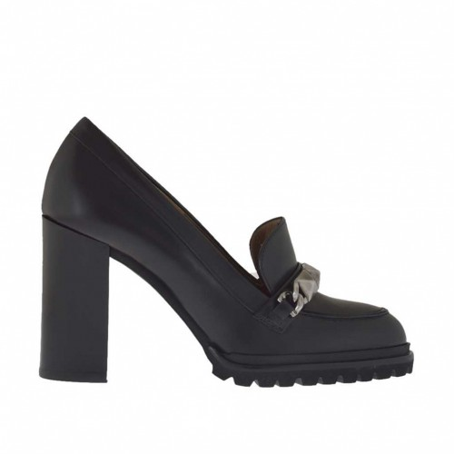 Mocassin pour femmes en cuir noir avec accessoire métallique talon 9 - Pointures disponibles:  34