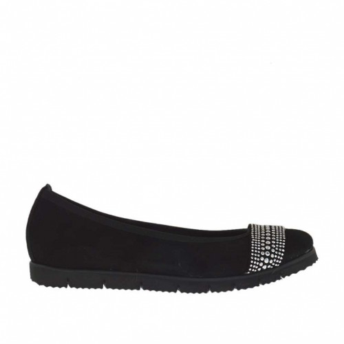 Woman's ballerina shoe with strass in black suede wedge heel 2 - Available sizes:  32, 33
