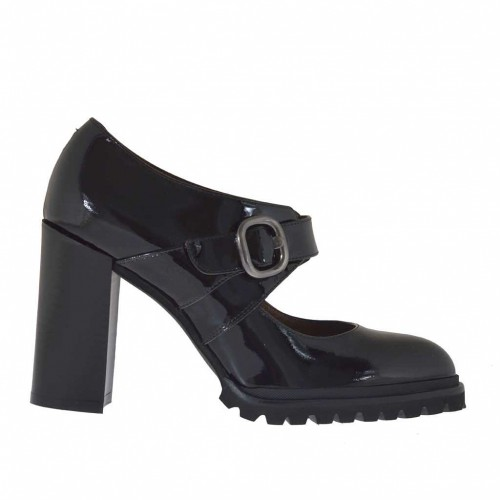 Woman's shoe with strap and buckle in black patent leather heel 9 - Available sizes:  43