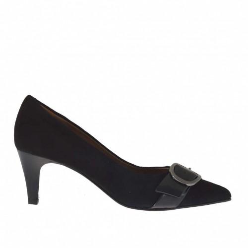 Escarpin pour femmes avec boucle en daim et cuir brossé noir talon 6 - Pointures disponibles:  32, 42
