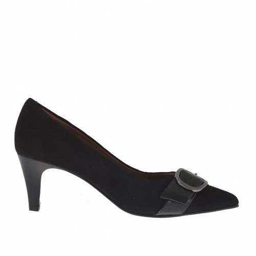 Woman's pump with buckle in black suede and brush-off leather heel 6 - Available sizes:  32, 33, 42