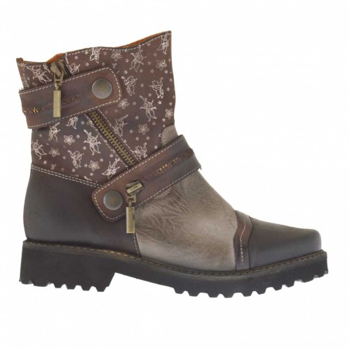 Woman's ankle boot with zippers in taupe, dark brown and printed brown leather heel 3 - Available sizes:  32