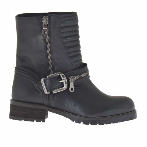 Woman's ankle boot with zippers and buckle in black leather and quilted leather heel 3 - Available sizes:  32