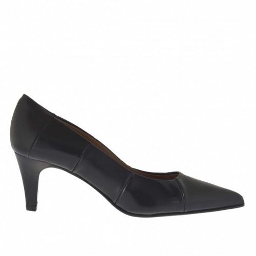Escarpin pour femmes en cuir et cuir brossé noir talon 6 - Pointures disponibles:  34, 45