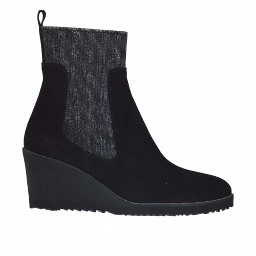 Woman's ankle boot in black suede and black and silver laminated elastic fabric wedge heel 6 - Available sizes:  42