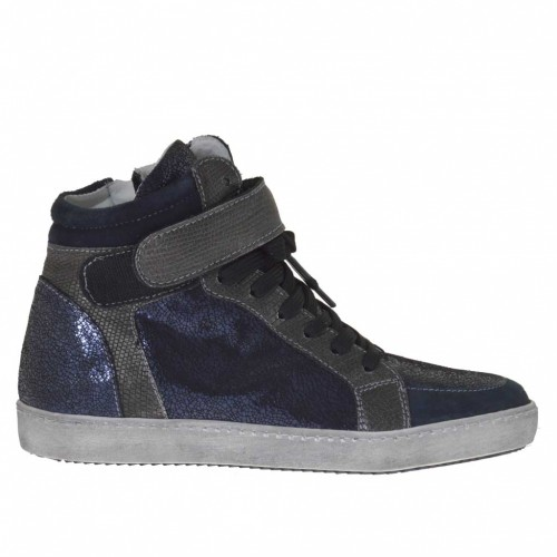Woman's laced sports shoe with velcro and zipper in steel printed leather,blue suede and laminated printed patent leather - Available sizes:  32, 33
