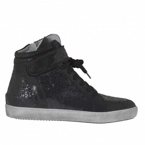 Chaussure sportif à lacets avec fermeture éclair et velcro en cuir avec pailettes et cuir verni lamé imprimé noir - Pointures disponibles:  32, 33