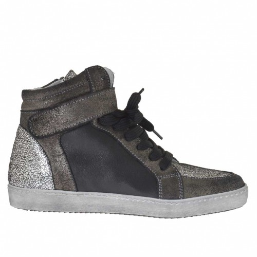 Woman's laced sports shoe with velcro and zipper in gunmetal and black leather and printed silver patent leather wedge 2 - Available sizes:  32, 33