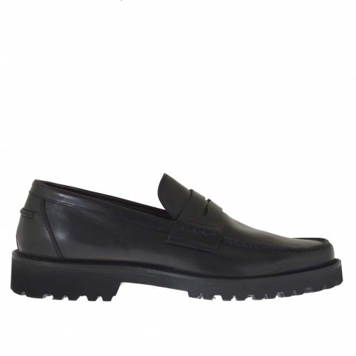 Man's loafer in black brush-off leather - Available sizes:  47