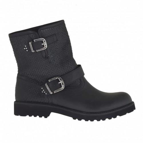 Bottines pour femmes avec boucles en cuir et cuir imprimé noir talon 3 - Pointures disponibles:  32