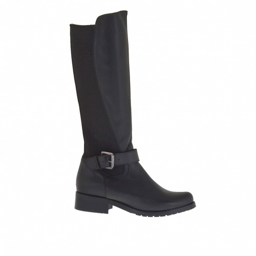 Woman's boot in black leather with inner zipper, backside elastic and buckle heel 3 - Available sizes:  32