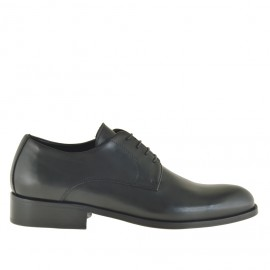Men elegant shoes with laces in black leather - Available sizes:  36, 49, 51