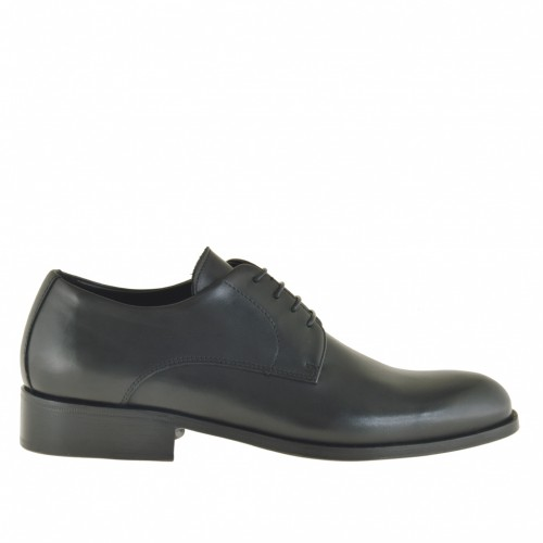 Men's elegant derby shoe with laces in black leather - Available sizes:  36, 49, 51